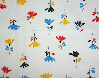 vintage 80s stylized floral cotton print, 1 yard, 2 available priced PER YARD