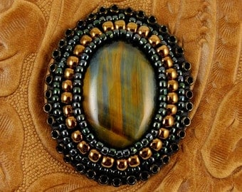 Blue Tiger Eye and Embossed Leather Cuff Bracelet
