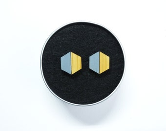 Geometric Hexagon Earrings, Grey Earrings, Geometric Earrings, Geometric Studs, Hexagon Studs, Grey Geometric Jewellery