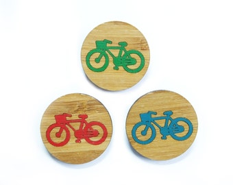 Bicycle Brooch, Bike Brooch, Bicycle Pin, Red Green Blue Bike, Bicycle Gift, Unisex Gift, Laser Cut Brooches
