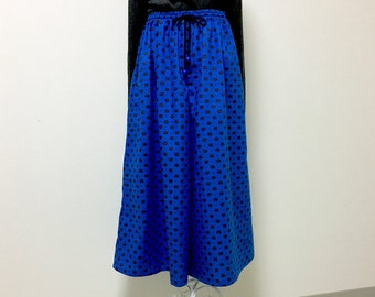 Wide Leg Cotton Pants - Handmade - Polka Dot Cats on Royal Blue