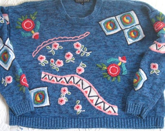 Folk Sweater . cropped sweater . 80s sweater . blossom sweater . Carol Little . Carol Little sweater