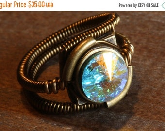 CYBER WEEK SALE - Steampunk Jewelry - Ring - Aurora Borealis Swarovski Crystal (Custom size available - see description)