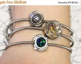 HAPPY HOLIDAYS SALE - Cyber-steampunk - 3 Bracelets - Silver tone with black fire opal