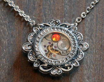 Steampunk Victorian Jewelry - Watch Movement and Fire Opal Crystal - Silver Tone