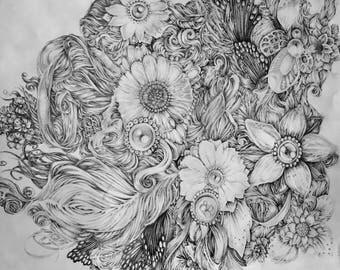 Original Pencil Drawing - Flowers II