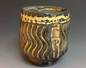 Yunomi. Bourbon Cup. Tea Cup. Faceted Soda Fired Stoneware Pottery