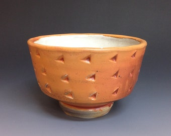 Porcelain Bowl with Pattern. Soda Fired Handmade Pottery