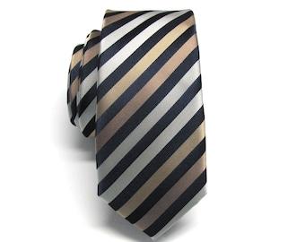 Mens Ties Skinny Tie. Navy Blue Brown Gold Silver Stripes Skinny Necktie