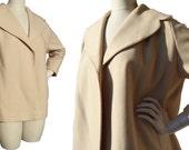 Vintage 40s Swing Coat Crop Jacket Art Deco Cream Wool FLSA – M / L