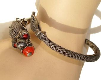 Vintage Dragon Bracelet Art Deco Chinese Export Silver Filigree Coral & Art Glass Beads