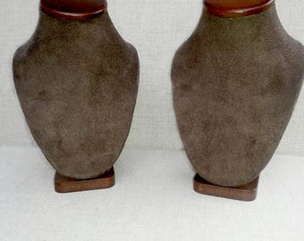 Necklace Stand,  Brown Suede Necklace Display Holder for Craft Show - Set of 2