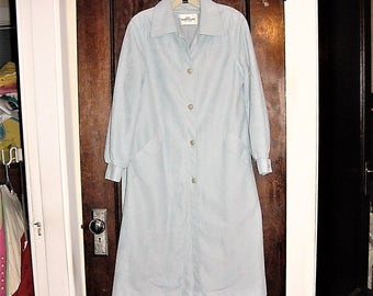 Vintage 70s Ladies Lt Blue Spring Coat M Ultra Suede
