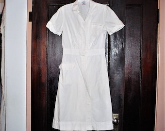 Vintage 40s White Cotton Nurses Waitress Uniform Dress sz M Short Sleeve