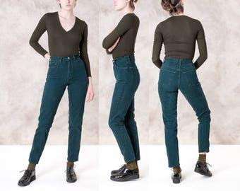 HIGH WAIST GAP jeans mom vintage Colorful green Skinny 90s denim pants / Size 4 / 26 Waist women