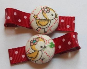 Cute Birdy...2 button hair clips