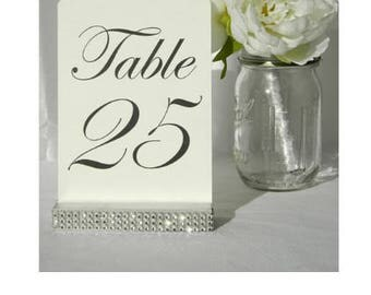 Table Number Holder + Silver Rhinestone Table Card Holders