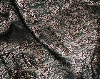 BURGUNDY & GOLD PAISLEY Silk Brocade Fabric - 1/3 Yard