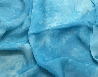 Hand Dyed TURQUOISE BLUE Soft Silk Organza Fabric - 1 Yard