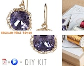 Holiday Sale - Earring Kit - Jewelry Making Kit - Earring Pattern - DIY Earring kit - Earrings Tutorials - Jewelry Tutorial kit - Swarovs...