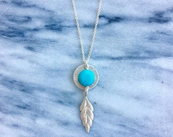 Turquoise Feather Madre Necklace