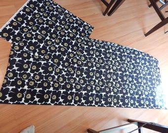 marimekko, marimekko fabric, designer fabric, black floral, print