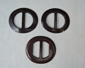 3 Vintage Plastic Buckles, 2-1/8 inch Brown Belt Buckles 1940s 1950s Buckle Lot, Art Deco