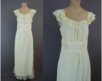 Vintage 1950s Rayon Nightgown, Yellow 36 bust, with Sheer Trim