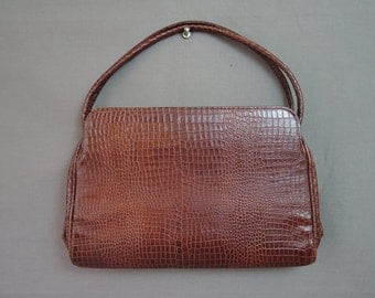 Vintage 1930s Leather Purse, Meyers Embossed Pressed to look like Snake or Alligator, 11x7 inches