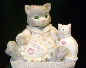 "Vintage Enesco - Calico Kittens - ""I'm Sew Glad You're Mine"" - 1993"