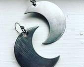 Moon Earrings Wire Wrap Silver Moon Earrings Dangle Earrings Crescent Moon Daniellerosebean Drop Earrings Silver Dangle Earrings