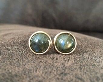 Gemstone Stud Earrings Wire Wrap Studs Labradorite Earrings Sterling Studs Gold Studs Copper Stud Earrings DanielleroseBean Post Earrings