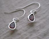 Little Garnet Drop Earrings- Sterling Silver, Dangle, Earwires, Gift, Simple, Everyday, Gemstone