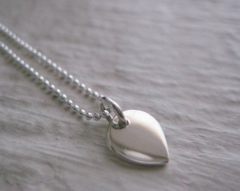 Sterling Silver Petal Necklace- Modern, Charm, Chain, Gift, Simple, Everyday, Minimal