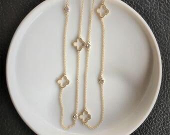 Clover Necklace, Long Clover Necklace, 4 Leaf Clover Necklace, Four Leaf Clover Necklace