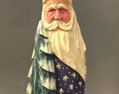 HAND CARVED original purple Santa with tree from 100 year old Cottonwood Bark.