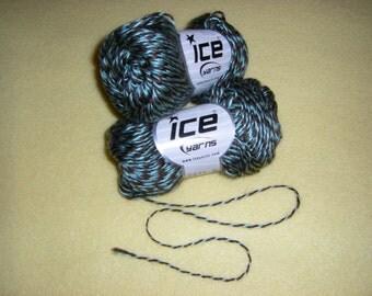 Two Skeins Teal and Brown Swirl Acryl Twist Yarn by Ice Yarns, acrylic novelty yarn, fine weight
