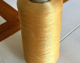 Huge Spool of Silky Thread Gold Colored, Vintage