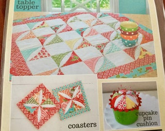 Table Topper or Baby Quilt, Coasters and Cupcake Pin Cushion, Cotton Candy Way #952