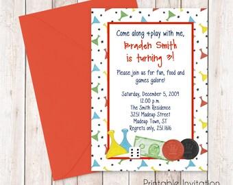 Board Games Party Invitation, Printable Invitation Design, Custom Wording, JPEG File