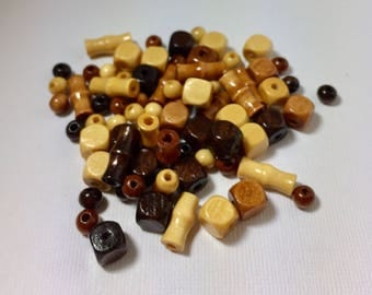Multi Shape Wood Bead Mix in Brown Tan and Natural  -- 78 ct.