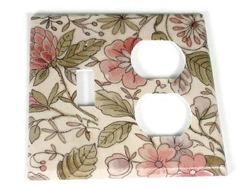 Combo Light Switch Plate Wall Plates Switchplate Cover in Ivory Floral (285TOC)