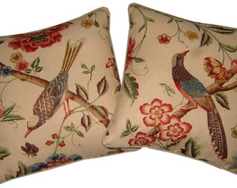 Pair GP & J Baker Elinors Chinese Beige Linen Cushions Covers