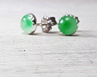Simple Green Jade Stud Earrings Sterling Silver Posts 6mm