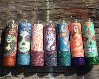 TODAYS STOCK Sugar Skull Tall Candle Holders  Candles Día de Muertos
