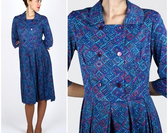 Vintage 1950s Blue and Pink Patterned Shirt-Waist Dress by Shelton Stroller   Medium