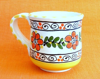 Bright Orange and Yellow Ceramic Mug
