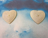 Gold Plated Frosted White Patina Brass Ox Plated Heart Charms 430WHT x2