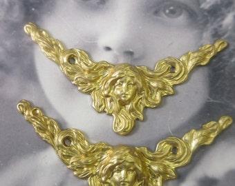 Raw Brass Art Nouveau Corner Stampings  81RAW x2
