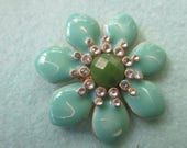 Enamel flower pendant, rhinestone and enamal flower pendant, flower pendant